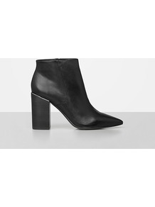 Xaviera Boot - predominant colour: black; occasions: casual, work, creative work; material: leather; heel height: high; heel: block; toe: pointed toe; boot length: ankle boot; style: standard; finish: plain; pattern: plain; wardrobe: highlight; season: s/s 2017