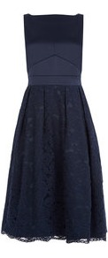 Lace Midi Dress - length: below the knee; neckline: slash/boat neckline; pattern: plain; sleeve style: sleeveless; style: full skirt; predominant colour: navy; occasions: evening; fit: fitted at waist & bust; fibres: polyester/polyamide - stretch; sleeve length: sleeveless; texture group: structured shiny - satin/tafetta/silk etc.; pattern type: fabric; embellishment: lace; wardrobe: event; season: s/s 2017; embellishment location: skirt