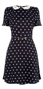 Spot Collar Skater Dress - length: mid thigh; pattern: polka dot; waist detail: belted waist/tie at waist/drawstring; secondary colour: white; predominant colour: black; occasions: casual, creative work; fit: fitted at waist & bust; style: fit & flare; fibres: viscose/rayon - 100%; neckline: no opening/shirt collar/peter pan; sleeve length: short sleeve; sleeve style: standard; pattern type: fabric; texture group: jersey - stretchy/drapey; multicoloured: multicoloured; wardrobe: highlight; season: s/s 2017