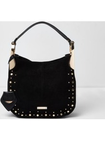 Womens Black Stud Detail Slouch Bag - secondary colour: gold; predominant colour: black; occasions: casual, creative work; type of pattern: standard; style: shoulder; length: shoulder (tucks under arm); size: standard; embellishment: studs; pattern: plain; finish: plain; material: faux suede; wardrobe: investment; season: s/s 2017
