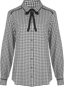 Gingham Check Tie Neck Blouse - neckline: shirt collar/peter pan/zip with opening; pattern: checked/gingham; style: shirt; secondary colour: white; predominant colour: black; occasions: casual; length: standard; fibres: cotton - 100%; fit: body skimming; sleeve length: long sleeve; sleeve style: standard; texture group: cotton feel fabrics; pattern type: fabric; pattern size: standard; embellishment: bow; wardrobe: highlight; season: s/s 2017; embellishment location: neck; trends: monochrome