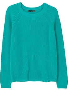 Ribbed Cotton Blend Sweater - pattern: plain; style: standard; predominant colour: teal; occasions: casual, creative work; length: standard; fibres: cotton - mix; fit: standard fit; neckline: crew; sleeve length: long sleeve; sleeve style: standard; texture group: knits/crochet; pattern type: knitted - other; wardrobe: highlight; season: s/s 2017