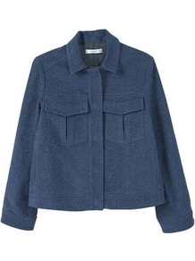 Dark Denim Jacket - pattern: plain; fit: loose; style: denim; predominant colour: navy; occasions: casual, creative work; length: standard; fibres: cotton - 100%; collar: shirt collar/peter pan/zip with opening; sleeve length: long sleeve; sleeve style: standard; texture group: denim; collar break: high; pattern type: fabric; pattern size: standard; wardrobe: basic; season: s/s 2017