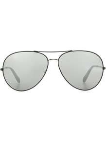 Sayer 63 Aviator Sunglasses - predominant colour: light grey; occasions: casual, holiday; style: aviator; size: standard; material: chain/metal; pattern: plain; finish: plain; wardrobe: basic; season: s/s 2017