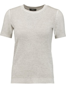 Cashmere Top Light Gray - pattern: plain; style: t-shirt; predominant colour: light grey; occasions: casual, creative work; length: standard; fit: body skimming; neckline: crew; fibres: cashmere - 100%; sleeve length: short sleeve; sleeve style: standard; texture group: knits/crochet; pattern type: knitted - fine stitch; wardrobe: basic; season: s/s 2017