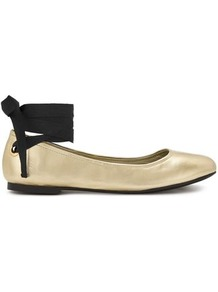 Womens Ebony Gold Ballet Flats, Gold Colour - predominant colour: gold; secondary colour: black; occasions: casual, creative work; material: faux leather; heel height: flat; toe: round toe; style: ballerinas / pumps; finish: metallic; pattern: colourblock; wardrobe: highlight; season: s/s 2017