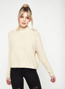 Womens Oatmeal Crop Funnel Neck Knitted Jumper, Oatmeal - pattern: plain; neckline: high neck; style: standard; predominant colour: ivory/cream; occasions: casual, creative work; length: standard; fibres: acrylic - mix; fit: loose; sleeve length: long sleeve; sleeve style: standard; texture group: knits/crochet; pattern type: knitted - other; pattern size: standard; wardrobe: basic; season: s/s 2017