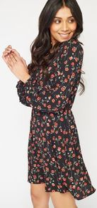 Womens Floral Mix Print Tea Dress, Assorted - style: tea dress; secondary colour: true red; predominant colour: black; occasions: casual; length: just above the knee; fit: body skimming; neckline: peep hole neckline; fibres: polyester/polyamide - stretch; sleeve length: long sleeve; sleeve style: standard; pattern type: fabric; pattern: florals; texture group: jersey - stretchy/drapey; multicoloured: multicoloured; wardrobe: highlight; season: s/s 2017