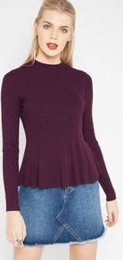 Womens Purple Long Sleeve Godet Peplum Knitted Top, Purple - pattern: plain; neckline: high neck; waist detail: peplum waist detail; predominant colour: purple; occasions: casual, creative work; length: standard; style: top; fibres: viscose/rayon - stretch; fit: tight; sleeve length: long sleeve; sleeve style: standard; texture group: knits/crochet; pattern type: knitted - other; wardrobe: highlight; season: s/s 2017