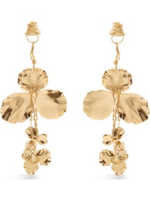 Flower Drop Earrings - predominant colour: gold; occasions: evening, occasion; style: drop; length: long; size: large/oversized; material: chain/metal; fastening: pierced; finish: metallic; wardrobe: event; season: s/s 2017