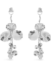 Flower Drop Earrings - predominant colour: silver; occasions: evening, occasion; style: drop; length: long; size: large/oversized; material: chain/metal; fastening: pierced; finish: metallic; wardrobe: event; season: s/s 2017