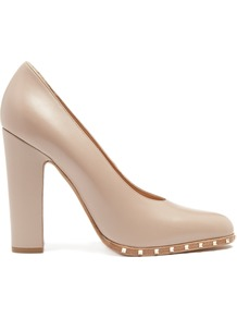 Rockstud Leather Pumps - predominant colour: taupe; secondary colour: gold; occasions: evening, occasion; material: leather; heel height: high; embellishment: studs; heel: block; toe: round toe; style: courts; finish: plain; pattern: plain; wardrobe: event; season: s/s 2017