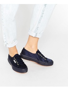 2750 Navy Dot Trainer Navy - secondary colour: ivory/cream; predominant colour: navy; occasions: casual, creative work; material: fabric; heel height: flat; toe: round toe; style: trainers; finish: plain; pattern: polka dot; wardrobe: highlight; season: s/s 2017