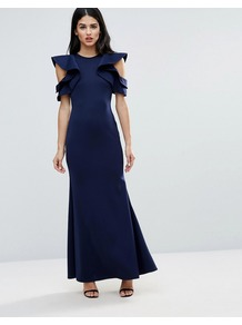 Scuba Fishtail Maxi Dress With Extreme Ruffle Sleeve Navy - sleeve style: puffed; pattern: plain; length: ankle length; hip detail: draws attention to hips; predominant colour: navy; occasions: evening, occasion; fit: body skimming; fibres: polyester/polyamide - stretch; style: fishtail; neckline: crew; shoulder detail: bulky shoulder detail; sleeve length: short sleeve; pattern type: knitted - fine stitch; texture group: jersey - stretchy/drapey; wardrobe: event; season: s/s 2017; embellishment: frills; embellishment location: bust, shoulder
