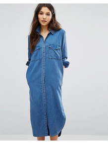 Long Denim Shirt Dress Medium Blue - style: shirt; length: calf length; neckline: shirt collar/peter pan/zip with opening; pattern: plain; predominant colour: denim; occasions: casual; fit: straight cut; fibres: cotton - mix; sleeve length: 3/4 length; sleeve style: standard; texture group: denim; pattern type: fabric; wardrobe: basic; season: s/s 2017