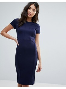 Office Pleated Detailed Front Midi Bodycon Dress Navy - style: shift; length: below the knee; pattern: plain; predominant colour: navy; occasions: work; fit: body skimming; fibres: polyester/polyamide - 100%; neckline: crew; sleeve length: short sleeve; sleeve style: standard; pattern type: knitted - fine stitch; texture group: jersey - stretchy/drapey; wardrobe: investment; season: s/s 2017