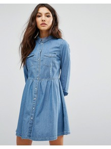 Denim Button Skater Dress Light Blue - neckline: shirt collar/peter pan/zip with opening; pattern: plain; predominant colour: pale blue; occasions: casual; length: just above the knee; fit: fitted at waist & bust; style: fit & flare; fibres: cotton - 100%; sleeve length: long sleeve; sleeve style: standard; texture group: denim; pattern type: fabric; wardrobe: basic; season: s/s 2017