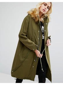 Game On Parka Jacket With Detachable Faux Fur Hood Green - pattern: plain; collar: funnel; fit: loose; style: parka; back detail: hood; predominant colour: khaki; occasions: casual; fibres: cotton - 100%; length: below the knee; sleeve length: long sleeve; sleeve style: standard; texture group: cotton feel fabrics; collar break: high; pattern type: fabric; embellishment: fur; wardrobe: highlight; season: s/s 2017