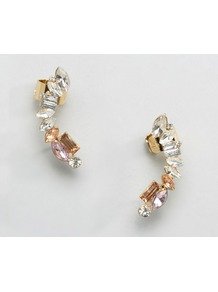 Jewelled Ear Cuff Clear/Lilac - predominant colour: gold; occasions: evening; length: mid; size: large/oversized; material: chain/metal; fastening: pierced; finish: metallic; embellishment: crystals/glass; multicoloured: multicoloured; style: ear cuffs; wardrobe: event; season: s/s 2017
