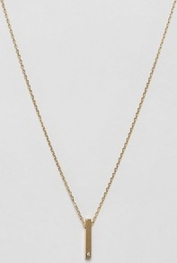 Vertical Crystal Bar Necklace Pale Gold - predominant colour: gold; occasions: evening; style: pendant; length: long; size: standard; material: chain/metal; finish: metallic; wardrobe: event; season: s/s 2017