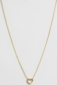 Thread Through Heart Necklace Pale Gold - predominant colour: gold; occasions: evening; style: pendant; length: long; size: standard; material: chain/metal; finish: metallic; wardrobe: event; season: s/s 2017