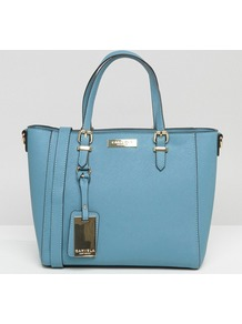 Danna Mini Winged Tote Bag Blue - predominant colour: diva blue; secondary colour: gold; occasions: casual, creative work; type of pattern: standard; style: tote; length: handle; size: small; material: faux leather; pattern: plain; finish: plain; embellishment: chain/metal; wardrobe: highlight; season: s/s 2017