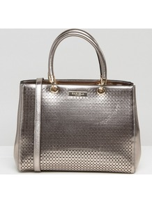 Darla Structured Tote Bag Pewter - predominant colour: silver; occasions: casual, creative work; type of pattern: standard; style: tote; length: handle; size: standard; material: faux leather; pattern: plain; finish: metallic; wardrobe: highlight; season: s/s 2017