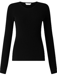 Boss Fahdi Ribbed Italian Merino Jumper, Black - pattern: plain; style: standard; predominant colour: black; occasions: casual; length: standard; fibres: wool - 100%; fit: standard fit; neckline: crew; sleeve length: long sleeve; sleeve style: standard; texture group: knits/crochet; pattern type: knitted - fine stitch; wardrobe: basic; season: s/s 2017