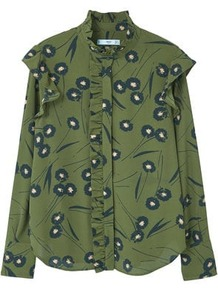 Ruffle Printed Blouse - neckline: high neck; style: blouse; secondary colour: navy; predominant colour: khaki; occasions: casual, creative work; length: standard; fibres: polyester/polyamide - 100%; fit: loose; sleeve length: long sleeve; sleeve style: standard; pattern type: fabric; pattern size: standard; pattern: patterned/print; texture group: other - light to midweight; wardrobe: highlight; season: s/s 2017