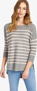 Breton Stripe Megg Knit - pattern: horizontal stripes; style: standard; secondary colour: white; predominant colour: light grey; occasions: casual; length: standard; fit: standard fit; neckline: crew; sleeve length: 3/4 length; sleeve style: standard; texture group: knits/crochet; pattern type: knitted - fine stitch; fibres: viscose/rayon - mix; multicoloured: multicoloured; wardrobe: highlight; season: s/s 2017