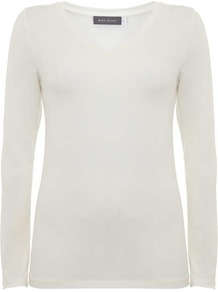 Ivory Modal V Neck Tee - neckline: v-neck; pattern: plain; style: t-shirt; predominant colour: ivory/cream; occasions: casual; length: standard; fibres: viscose/rayon - stretch; fit: body skimming; sleeve length: long sleeve; sleeve style: standard; pattern type: fabric; texture group: jersey - stretchy/drapey; wardrobe: basic; season: s/s 2017