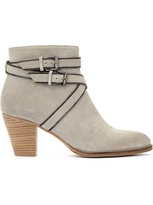 Stone Coco Zip Trim Strap Ankle Boot - predominant colour: light grey; occasions: casual; material: suede; heel height: mid; embellishment: buckles; heel: block; toe: round toe; boot length: ankle boot; style: standard; finish: plain; pattern: plain; wardrobe: basic; season: s/s 2017