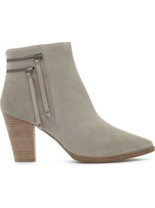 Stone Scarlett Double Zip Ankle Boot - predominant colour: light grey; occasions: casual; material: suede; heel height: high; heel: block; toe: pointed toe; boot length: ankle boot; style: standard; finish: plain; pattern: plain; wardrobe: highlight; season: s/s 2017