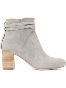 Grey Isla Suede Strap Ankle Boot - predominant colour: light grey; occasions: casual; material: suede; heel height: mid; heel: block; toe: round toe; boot length: ankle boot; style: standard; finish: plain; pattern: plain; wardrobe: basic; season: s/s 2017