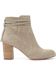 Taupe Isla Tie Ankle Boot - predominant colour: light grey; occasions: casual; material: suede; heel height: high; heel: block; toe: round toe; boot length: ankle boot; style: standard; finish: plain; pattern: plain; wardrobe: highlight; season: s/s 2017