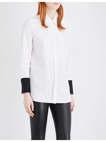 Jeronia Contrast Cuff Cotton Shirt, Women's, Pure White - neckline: shirt collar/peter pan/zip with opening; pattern: plain; style: shirt; predominant colour: white; occasions: casual, creative work; fibres: cotton - 100%; fit: body skimming; length: mid thigh; sleeve length: long sleeve; sleeve style: standard; texture group: cotton feel fabrics; pattern type: fabric; wardrobe: basic; season: s/s 2017