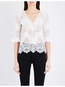 Floral Lace Top, Women's, White - neckline: low v-neck; sleeve style: leg o mutton; predominant colour: white; occasions: evening, creative work; length: standard; style: top; fibres: cotton - mix; fit: body skimming; sleeve length: 3/4 length; texture group: lace; pattern type: fabric; pattern size: standard; pattern: patterned/print; embellishment: lace; wardrobe: highlight; season: s/s 2017; embellishment location: all over