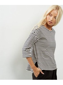 Black Stripe Print 3/4 Sleeve Top - pattern: horizontal stripes; secondary colour: white; predominant colour: navy; occasions: casual; length: standard; style: top; fibres: cotton - mix; fit: loose; neckline: crew; sleeve length: 3/4 length; sleeve style: standard; pattern type: fabric; pattern size: standard; texture group: jersey - stretchy/drapey; multicoloured: multicoloured; wardrobe: basic; season: s/s 2017
