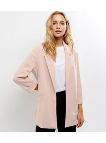 Shell Pink Crepe Scuba Blazer - pattern: plain; style: single breasted blazer; fit: loose; length: below the bottom; collar: standard lapel/rever collar; predominant colour: blush; occasions: casual, creative work; fibres: polyester/polyamide - stretch; sleeve length: long sleeve; sleeve style: standard; collar break: low/open; pattern type: fabric; texture group: woven light midweight; wardrobe: basic; season: s/s 2017