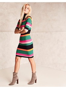 High Neck Knitted Dress - fit: tight; style: bodycon; pattern: striped; neckline: roll neck; secondary colour: pink; predominant colour: emerald green; occasions: evening; length: just above the knee; fibres: acrylic - 100%; sleeve length: half sleeve; sleeve style: standard; texture group: knits/crochet; pattern type: knitted - fine stitch; multicoloured: multicoloured; wardrobe: event; season: s/s 2017