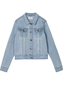 Carpenter Denim Jacket, Blue - pattern: plain; style: denim; predominant colour: pale blue; occasions: casual, creative work; length: standard; fit: straight cut (boxy); fibres: cotton - 100%; collar: shirt collar/peter pan/zip with opening; sleeve length: long sleeve; sleeve style: standard; texture group: denim; collar break: high/illusion of break when open; pattern type: fabric; wardrobe: basic; season: s/s 2017