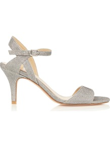 Evie Glitter Shoe - predominant colour: silver; occasions: evening, occasion; material: fabric; heel height: mid; ankle detail: ankle strap; heel: stiletto; toe: open toe/peeptoe; style: standard; finish: metallic; pattern: plain; wardrobe: event; season: s/s 2017