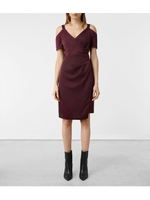 Cadia Dress - style: shift; neckline: low v-neck; pattern: plain; length: ankle length; predominant colour: aubergine; occasions: evening; fit: straight cut; fibres: polyester/polyamide - 100%; shoulder detail: cut out shoulder; sleeve length: short sleeve; sleeve style: standard; pattern type: fabric; texture group: jersey - stretchy/drapey; wardrobe: event; season: s/s 2017