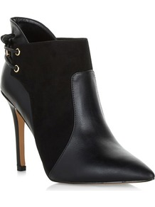 Eyelet Ankle Boots - predominant colour: black; occasions: casual; material: leather; heel height: high; heel: stiletto; toe: pointed toe; boot length: ankle boot; style: standard; finish: plain; pattern: plain; wardrobe: highlight; season: s/s 2017