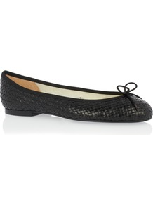 Henrietta Woven Leather - predominant colour: black; occasions: casual, work, creative work; material: faux leather; heel height: flat; toe: round toe; style: ballerinas / pumps; finish: plain; pattern: plain; embellishment: bow; wardrobe: basic; season: s/s 2017