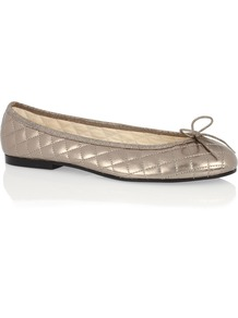 Henrietta Pewter Leather - predominant colour: gold; occasions: casual, creative work; material: faux leather; heel height: flat; embellishment: quilted; toe: round toe; style: ballerinas / pumps; finish: metallic; pattern: plain; wardrobe: basic; season: s/s 2017
