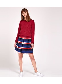 Stripe Pleated Skirt - fit: loose/voluminous; style: pleated; waist: mid/regular rise; secondary colour: true red; predominant colour: royal blue; occasions: casual; length: just above the knee; fibres: polyester/polyamide - 100%; pattern type: fabric; texture group: woven light midweight; pattern: horizontal stripes (bottom); multicoloured: multicoloured; wardrobe: highlight; season: s/s 2017