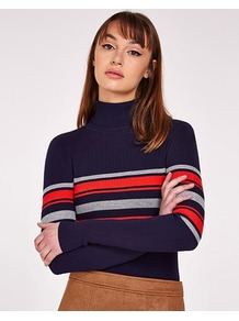 Stripe Polo Neck Jumper - pattern: horizontal stripes; neckline: roll neck; style: standard; secondary colour: true red; predominant colour: navy; occasions: casual, creative work; length: standard; fit: slim fit; sleeve length: long sleeve; sleeve style: standard; texture group: knits/crochet; pattern type: knitted - fine stitch; pattern size: standard; fibres: viscose/rayon - mix; multicoloured: multicoloured; wardrobe: highlight; season: s/s 2017