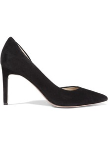 Classic D'orsay Suede Pumps Black - predominant colour: black; occasions: evening, occasion; material: suede; heel height: high; heel: stiletto; toe: pointed toe; style: courts; finish: plain; pattern: plain; wardrobe: event; season: s/s 2017; trends: monochrome