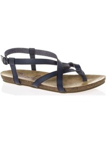 Tall Granola Flat Sandals At Long Tall Sally - predominant colour: navy; occasions: casual, holiday; material: faux leather; heel height: flat; ankle detail: ankle strap; heel: standard; toe: toe thongs; style: strappy; finish: plain; pattern: plain; wardrobe: basic; season: s/s 2017